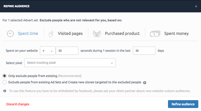 Facebook Attribution Window refine audience