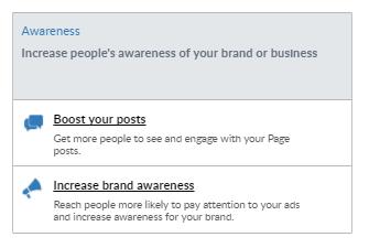 Boost post or increase awareness