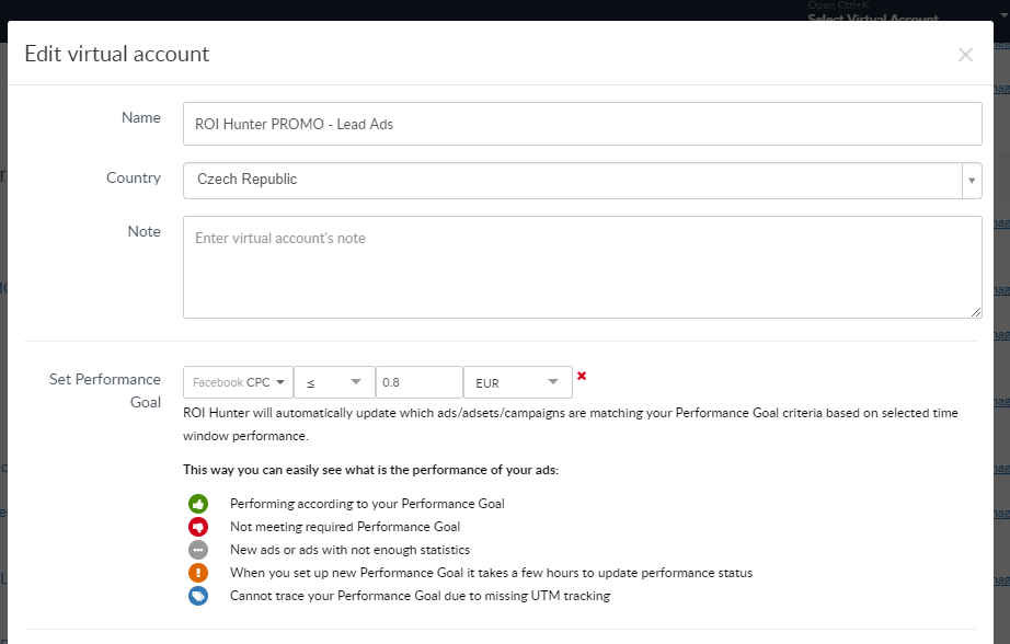 Add performance goals to virtual account