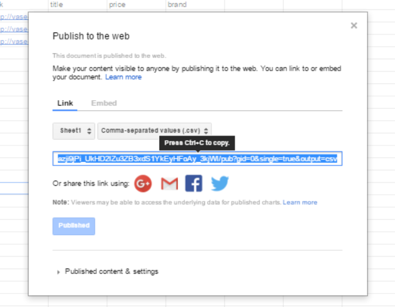 Copy the link to place in Facebook Business Manager