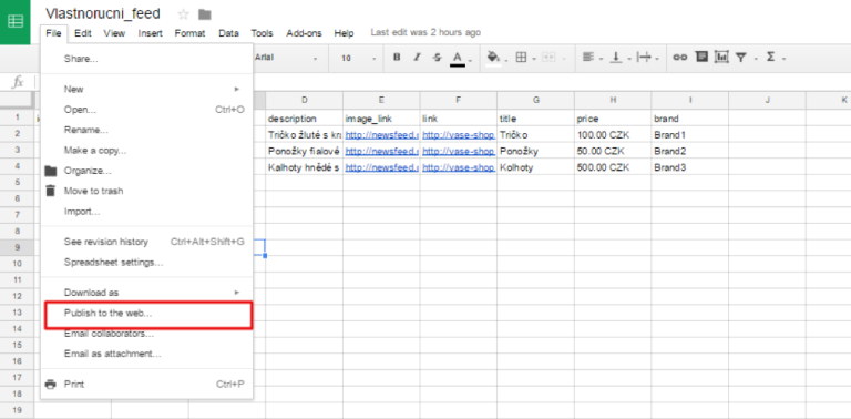 Publish Google Sheet (CSV) to web