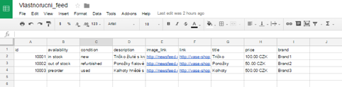 XML feed on Google sheets example
